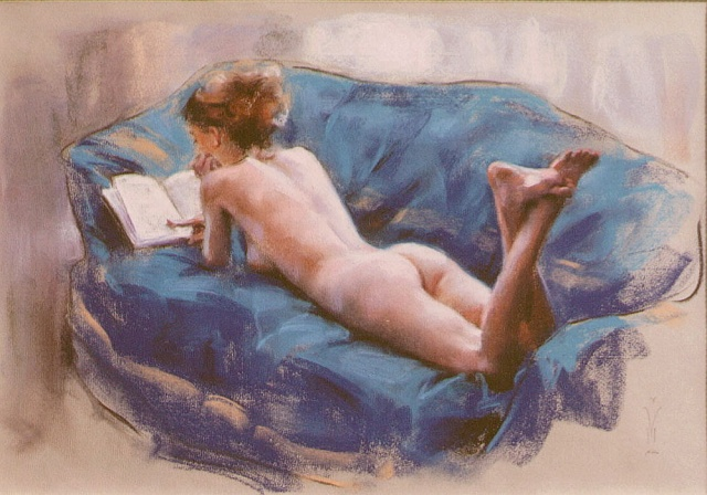 Mathis, Blue Couch, Le divan bleu, Pastel on paper, 33_02 x 48_26 cm, Dassin Gallery, Los Angeles, California, USA